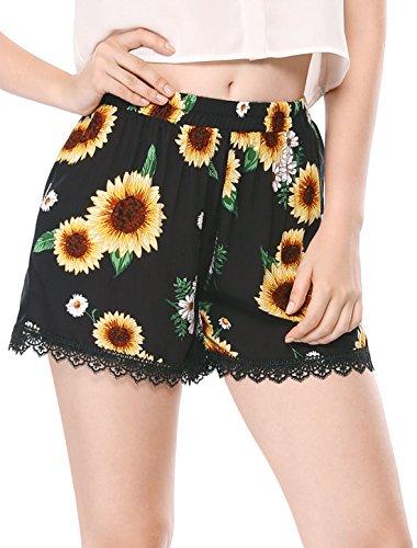 Allegra K Women's Shorts Allover Floral Printed Lace Trim Hem Elastic Waist Beach Shorts Black-Sunflower L (US 14)
