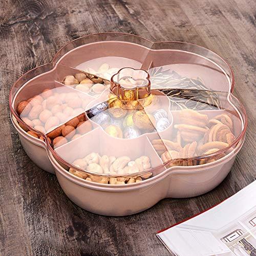 Yeeyf Boîte de rangement pour snacks, bonbons, fruits secs, snacks, fruits secs, snacks, plateau de service en forme de pétale, pour maison, mariage, fête de Noël
