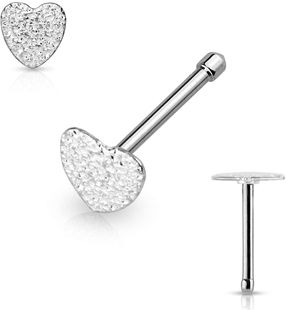 Forbidden Body Jewelry 20g Surgical Steel 5mm Sparkly Heart Top Nose Stud (Choose Color)