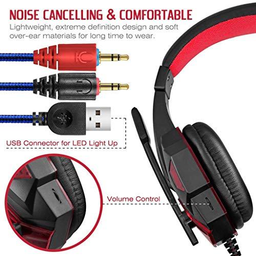 Webla PC Auriculares 2.2mm Micrófono estéreo Auriculares para juegos con LED Auriculares para juegos con LED para Ps4(Rojo)