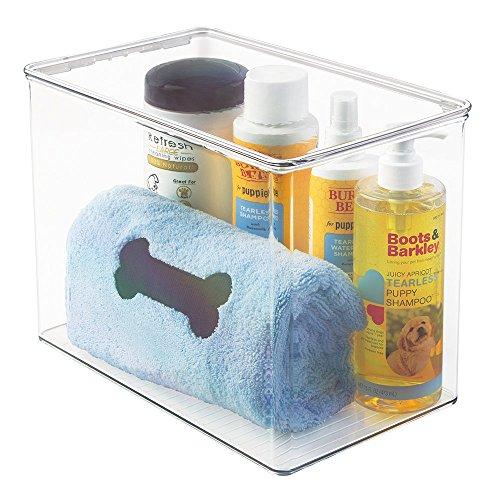 mDesign Aufbewahrungsbox für Tierbedarf – große Box mit Deckel für Tierpflegeprodukte – perfekt für Hundeshampoo, Schermaschine und anderes Tierzubehör – durchsichtig