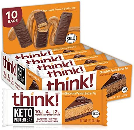 think Keto Protein Bars Chocolate Peanut Butter Pie 10g Protein 2g Sugar No Artificial Sweeteners product image
