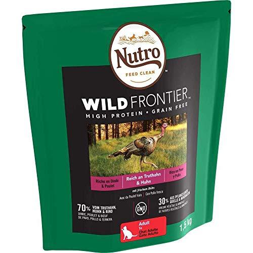 Nutro Katzenfutter Trockenfutter Wild Frontier Adult 1+ Reich an Truthahn & Huhn, 1 Beutel (1 x 1.5kg)