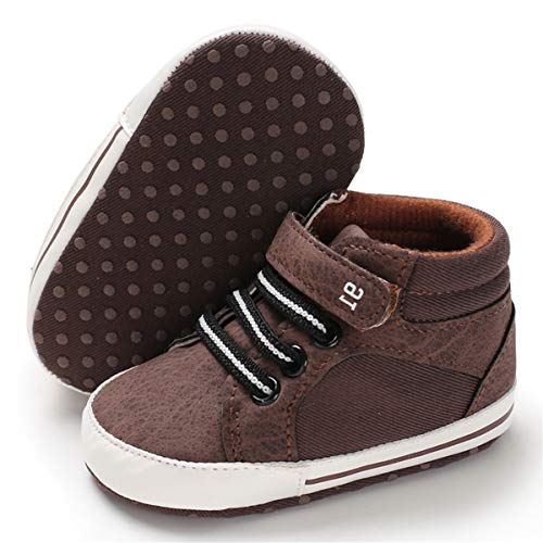 BENHERO Baby Girls Boys Canvas Shoes Toddler Infant First Walker Soft Sole High-Top Ankle Sneakers Newborn Crib Shoes (6-12 Months M US Infant, E-Brown