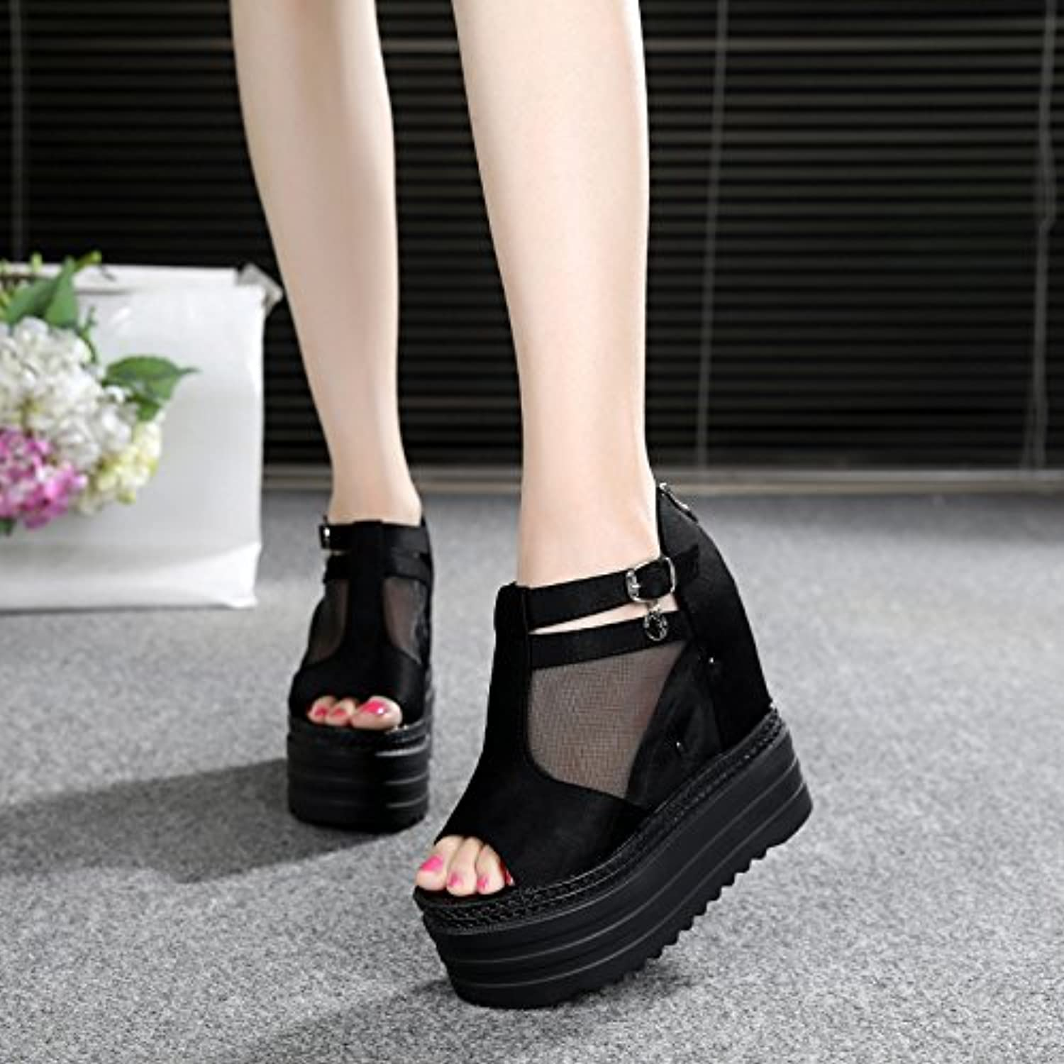 GTVERNH-Women's shoes Summer Fish Mouth 12Cm Super High Heels Sandals Slope Heels Gauze Women's shoes.