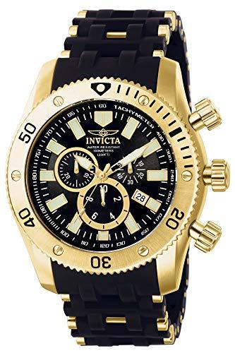 Invicta Men's Sea Spider Gold Tone Stainless Steel and Black Polyurethane Quartz...