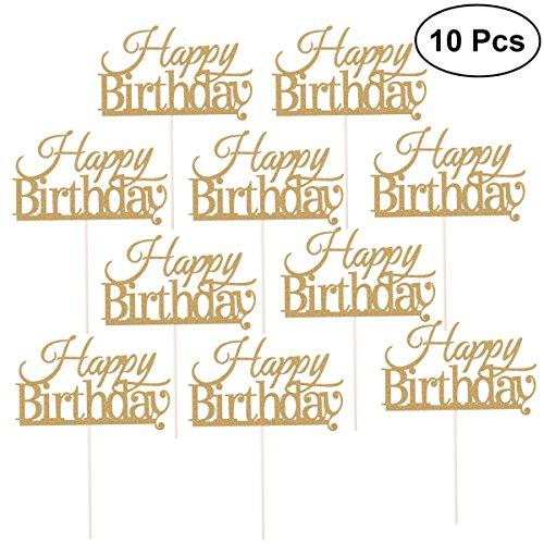 BESTOYARD 10 Piezas Happy Birthday Cake Topper Cake Decorations Suministros para Fiestas (Dorado)