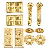 YARNOW 10 Piezas Casa de Muñecas Miniatura Ornamento Moneda de La Fortuna China Barra de Oro Falso para Jardín de Hadas Bonsai Macetas Feng Shui Ornamentos Decoración de La Buena Suerte