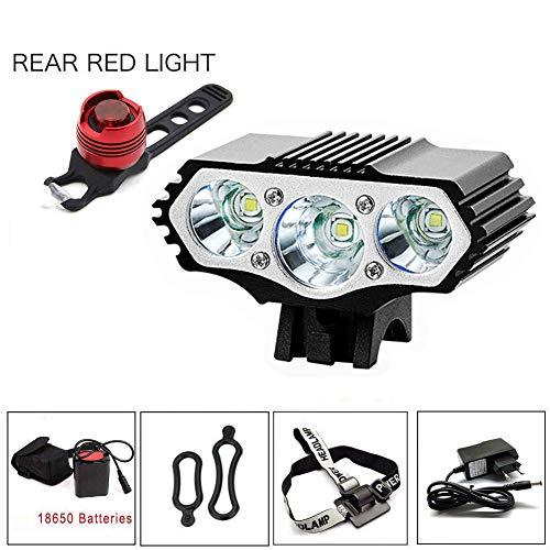 YHTSPORT Eclairage LED Velo,6000 Lumens 3X CREE XM-L T6 LED 4 Modes Bicyclette de Vélo Lampe Extérieure Devant la Lumière Eclairage Vélo Puissant+Phare arrière