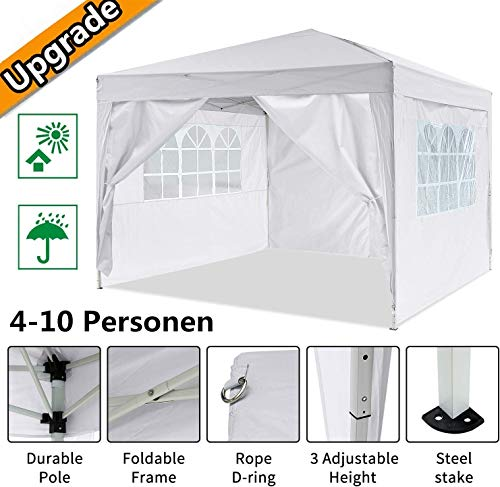 Oppikle 3x3m /3x6m Garden Gazebo Marquee Tent with Side Panels, Fully Waterproof, Powder Coated Steel Frame for Outdoor Wedding Garden Party (3 * 3/m White)