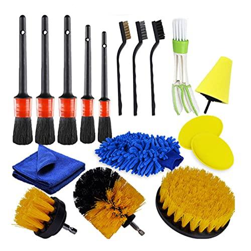 CARMAE Juego de 17 cepillos de limpieza para coche, kit de cepillos de limpieza de aire, cepillo de limpieza para limpieza de coches y exteriores