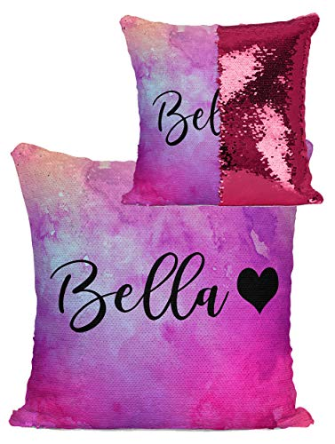 Violet Victoria & Fan Star Personalized Reversible Sequin Mermaid Flip Pillow - Name with Heart (Choose Your Sequin Color) (Hot Pink/Satin Back, Sequin)