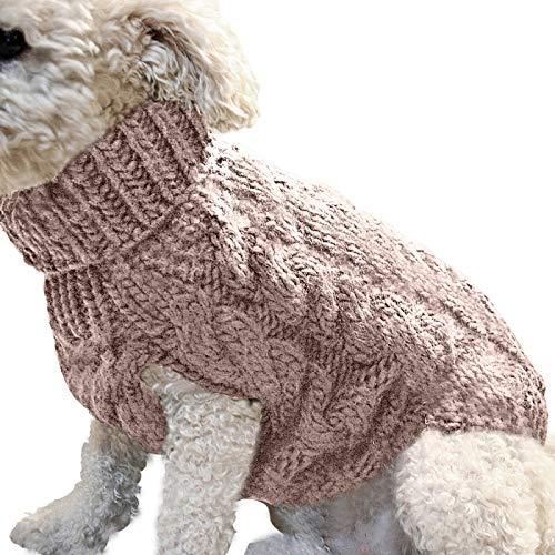 ZSGG Hund Pullover Weste Warmen Mantel Kleines Haustier Hund Gestrickt Winter Warmen Pullover Pullover Hoher Kragen Pullover Mantel Hundekleidung Weihnachten