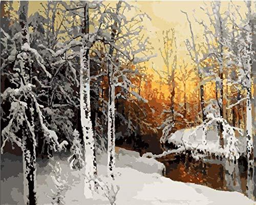 QJHXD winterbos landschap familie zonder frame muur kunst knutselen kunst gereedschapskist digitale kleur oliekleur 40 x 50 cm