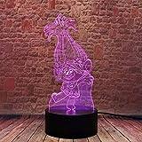 Troll Anime 3D lámpara de mesa de luz nocturna degradado colorido decoración creativa única juguete de cumpleaños regalo 3-9 + años niños y niñas