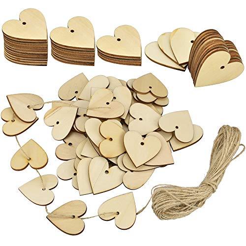RMENOOR 100 Stück Holzherz mit Loch 40 x 40 mm Holzherzen Herzförmige Herzen aus Holz Unlackiert Holz Herz Verzierungen mit 10 m Rolle Naturhanfseil für Kunsthandwerk Dekorieren und Fest