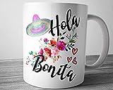Taza española Hola Bonita linda taza de café con decoración española para el día de la madre con refranes regalos españoles taza de café regalo para mamá