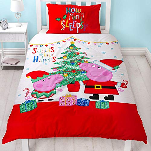 Character World Inc. Peppa Wutz Kinderbettwäsche Garnitur Weihnachten mit Pig und George Weihnachtsbettwäsche