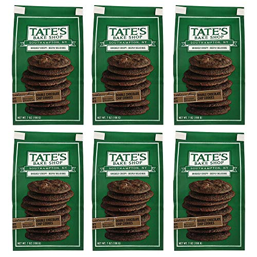 Tate's Bake Shop Thin & Crispy Cookies, 7 Oz, Pack Of 6 (Double Chocolate)