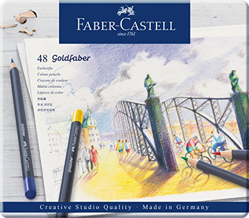 Faber-Castell 114748 - Estuche de metal con 48 ecolápices acuarelables hexagonales Goldfaber, colores surtidos