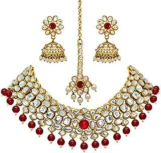 Jaipur Mart Alloy Metal Gold Plated Imitation Pearl & Kundan Jewellery Set (KN130$P)