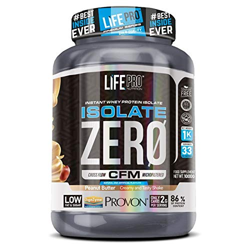 Life Pro Isolate Zero 1 kg | Whey Protein Isolate Sports Supplement for Muscle System Improvement and Growth, Increases Endurance, Peanut Butter Flavor, 1 kg