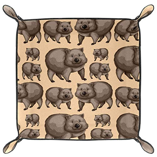 Folding Dice Tray, PU Leather Dice Holder Rolling Trays for RPG Dice Gaming D&D and Other Table Games,Cute Wombats Animals