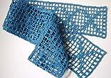 Tischband 110cm blau Baumwolle gehäkelt