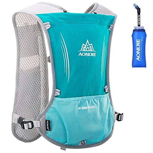 Azarxis Hydrationswesten für Laufen Damen Herren Race Laufweste Hydration Trail Running Water Weste (Hellblau - mit Einer weichen Wasserflasche (600ml))