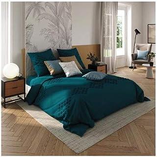 Atmosphera - Parure de lit 2 Personnes 240 x 220 cm Housse de Couette avec 2 taies Coton lavé Bleu Canard tufté