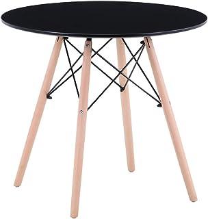 GOLDFAN Table de Salle à Manger Ronde 80 cm Design Moderne en Bois Mat Pieds en Bois de hêtre pour 2-4 Personnes Salle à M...