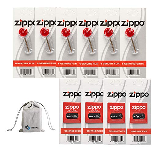Zippo Lighter Replacement 6 Flint Dispensers (36 Flints) & 4 Wicks 10 Value Pack Bundle with KKBestPack Pouch