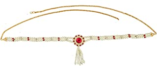 Anuradha Art Red Colour Simple & Beads Styled Belly Chain Kamar Patta for Women
