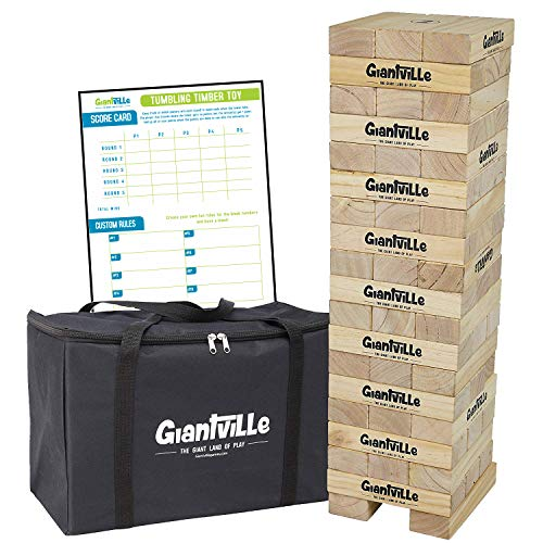 Giant Tumbling Timber Toy - Jumbo Wooden Blocks Floor Game for Kids and Adults, 56 Pieces, Premium Pine Wood, Carry Bag, Life Size, by Giantville - Grows to Over 5-feet While Playing