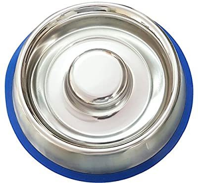 Stainless Steel Interactive Slow Feed Dog Bowl with a Silicone Base by Mr. Peanut's, Fun Healthy Bloat Stop Feeder
