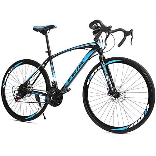 PBTRM Bicicleta Carretera 700C 21 Velocidades para Hombres Y Mujeres, Marco Acero Carbono, Frenos Disco Delanteros Y Traseros, Bicicleta Ciudad,Azul