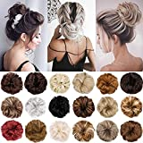 Hebelin 1Pcs 2Pcs Messy Hair Bun Extensions Scrunchy Updo Elastic Wavy Curly Donut Chignon Hairpiece(1 count,Natural Black Mix Silver Grey)