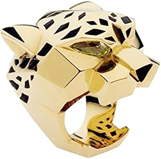 Gold-Tone Leopard Man Woman Cocktail Ring Green Zircon Eyes