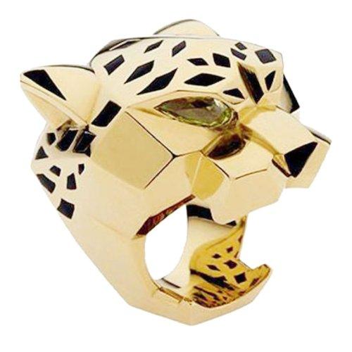 Flyonce Anillos para Mujer Serie de Animal Leopardo Salvaje Guapo Zirconias Oro para Regalo Novia Chica Tamaño V 1/2
