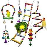 Chikanb Giochi per Uccelli Pappagalli, 6 Pezzi Altalene per Uccelli Colorato Campana Giochi per Parrocchetti, Giocattolo da Masticare per Cockatiels, Pappagallini, Myna, Gazza e Uccelli Adorabili