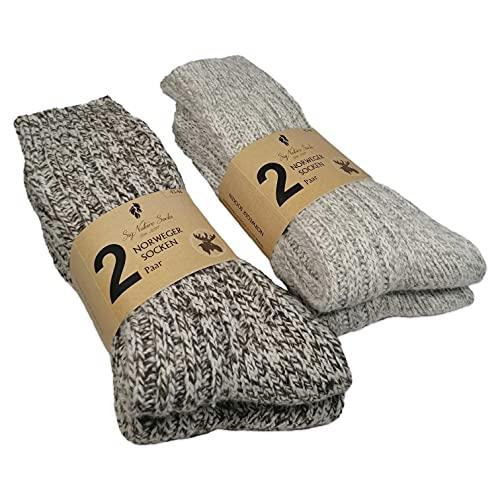 SigNature Socks 4 Paar Norweger Socken Herren & Damen Umweltfre&licher Box Wollsocken Damen & Herren Stricksocken Herren Damen Dicke Socken Herren Damen Kuschelsocken Herren & Damen