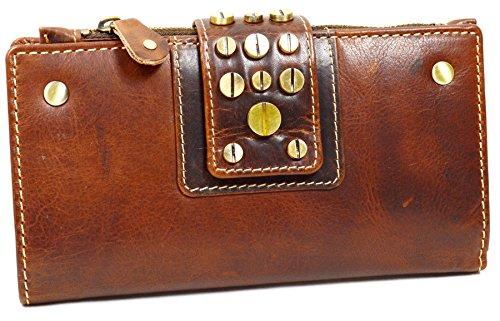 flevado Italy Damen Portemonnaie schmales Design Antik Optik Vollleder mit Nieten