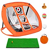 Golf Chipping Net Indoor/Outdoor Golfing Target Accessories Golf Net and Mat for Backyard Accuracy and Swing Practice Great Gifts for Golfer with Hitting Mat (Orange)