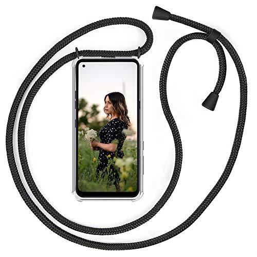 QCHMM Funda movil Colgar con Cuerda para LG K51S - Carcasa Suave Silicona Transparente TPU Case con Cuerda Colgante Ajustable Collar Correa de Cuello Cadena Cordón - Negro Mate