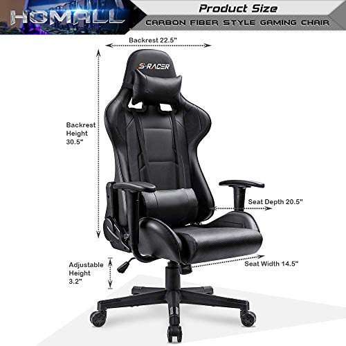 Homall Gaming Chair Office Chair High Back Computer Chair PU Leather Desk Chair PC Racing Executive Ergonomic Adjustable Swivel Task Chair with Headrest and Lumbar Support (Dark Black)