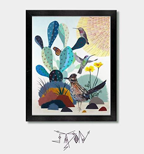 Little Green Valley – by Artist Jason Smith – Road Runner, Hummingbird, Southwestern Print, Southwest, Arizona Desert, Utah, California, Texas, Art Print, Artwork, Bird Prints, Monarch Butterfly