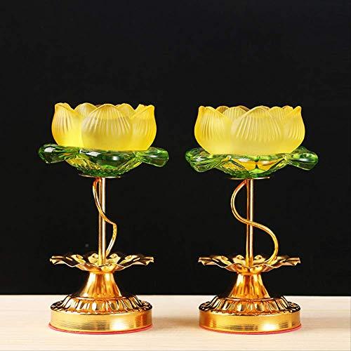 SEHBDY Candelero portalámparas de Loto acristalado para candelabro del Templo Budista candelabro de pie Alto 16 cm portalámparas/par Precio
