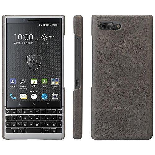 HualuBro BlackBerry KEY2 Hülle, Ultra Slim Premium Leichtes PU Leder Leather HandyHülle Tasche Schutzhülle Hülle Cover für BlackBerry Key 2 Smartphone (Grey)
