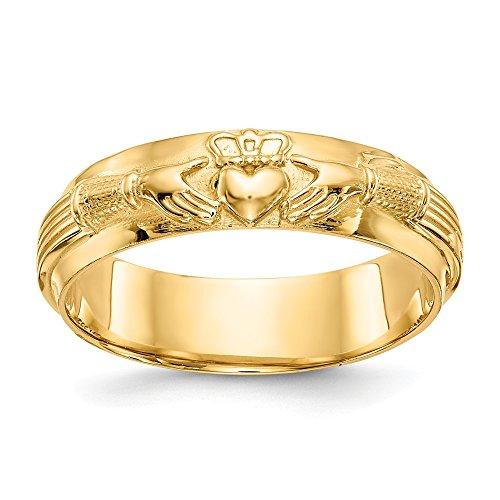 Jewels By Lux Anillo Claddagh para hombre de oro amarillo de 14 quilates.