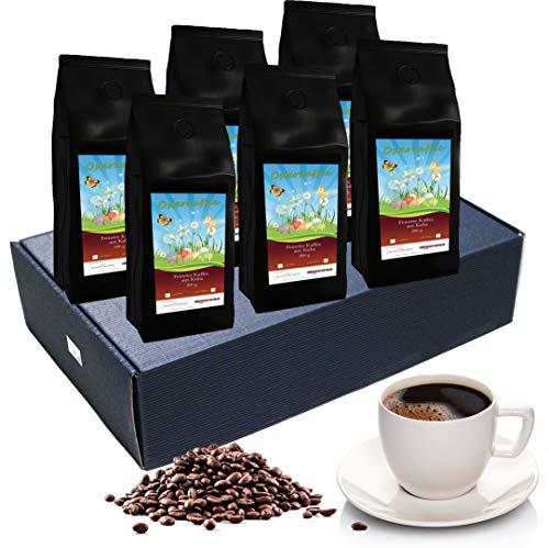 Oster Kaffee-Box, Ostern Geschenk - Tolle Box Mit 6 sagenhaften Kaffees á 65g (Ganze Bohnen, Blauer Karton)